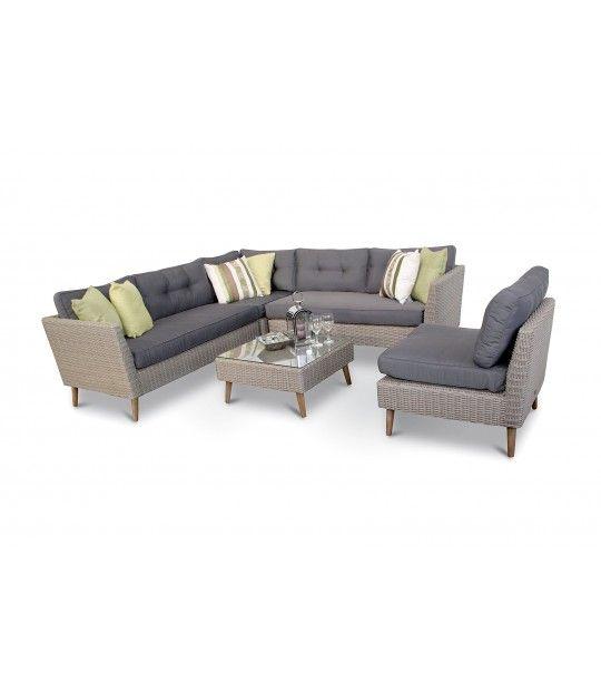 London 4pc Rattan Garden Mid Century Sofa Set Cappuccino Grey