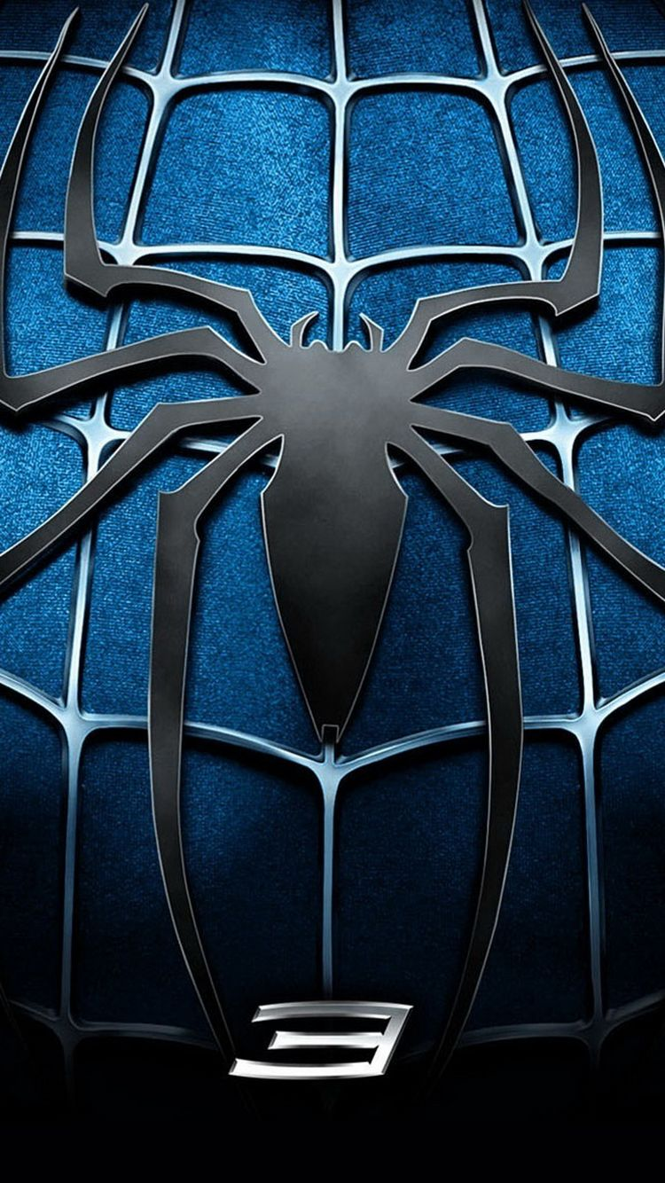 Download Spider Man 3 Blue Chest Logo iPhone 6 Wallpaper