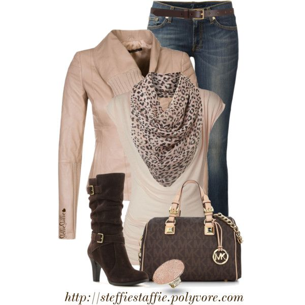 """""""Nude Leather, Leopard Scarf & MK Bag"""" by steffiestaffie on Polyvore"""