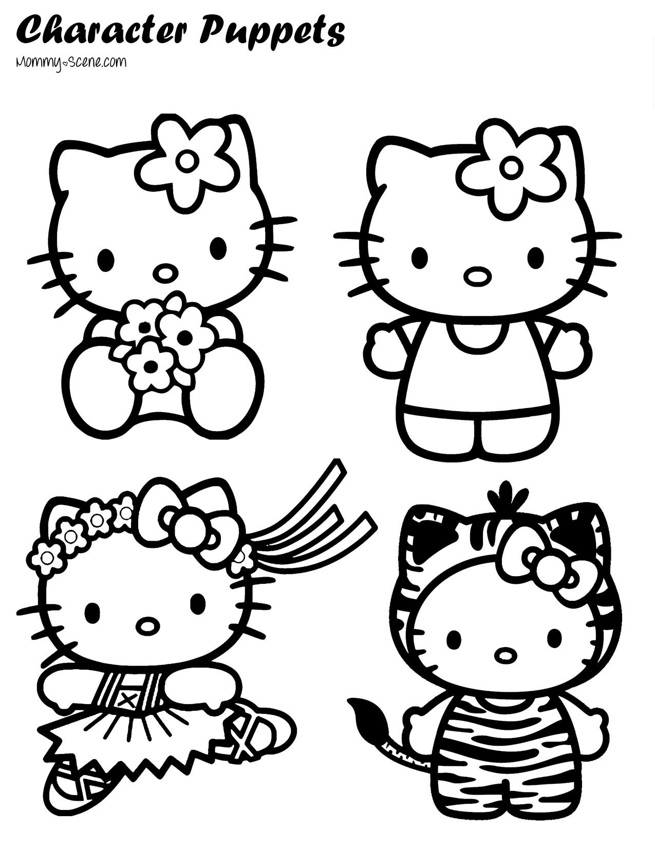 Paper Character Puppets Hello Kitty Colouring Pages Kitty