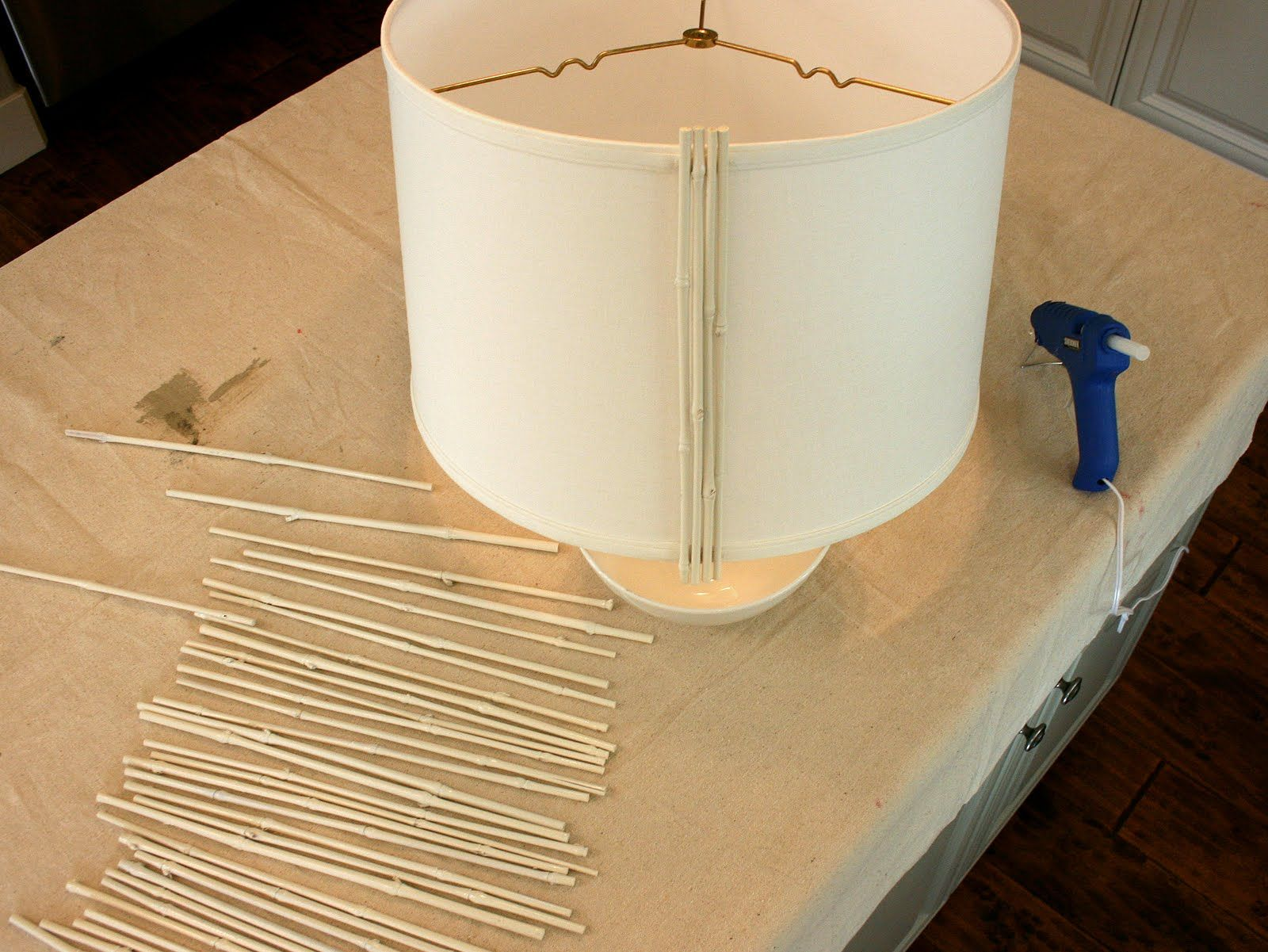 DIY bamboo lamp shade.