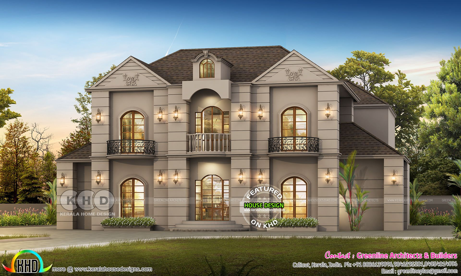 Luxury Colonial House Plan With 6 Bhk Kerala House Design Colonial House Plans House Architecture Design