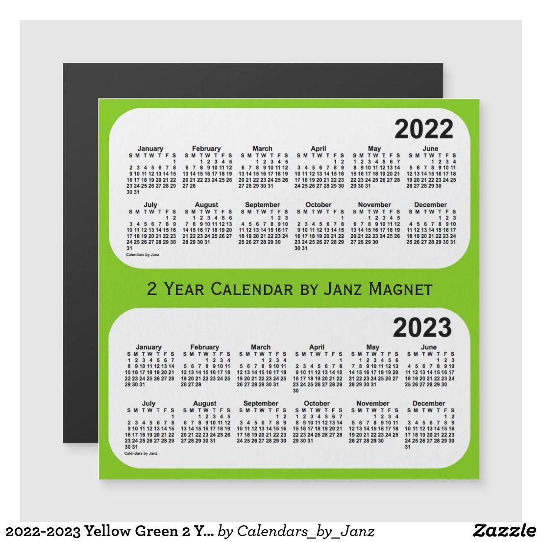 20222023 yellow green 2 year calendar by janz zazzle