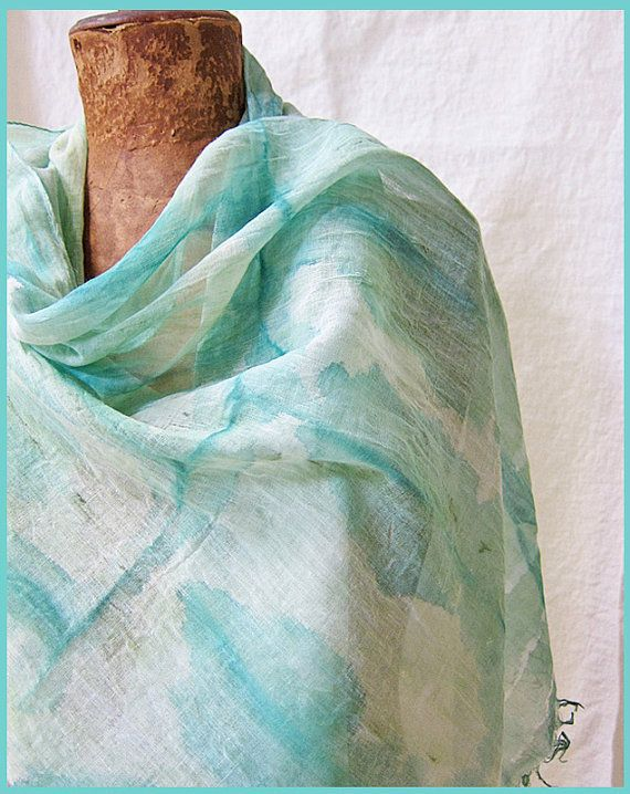 Hand Painted Scarf Cotton Sea Foam Green Mint Turquoise Resort Watercolor Hand Dyed Scarf