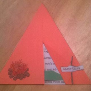 d67b896b7 Birthday tent invitations for my son s camping party. Two triangles glued  together