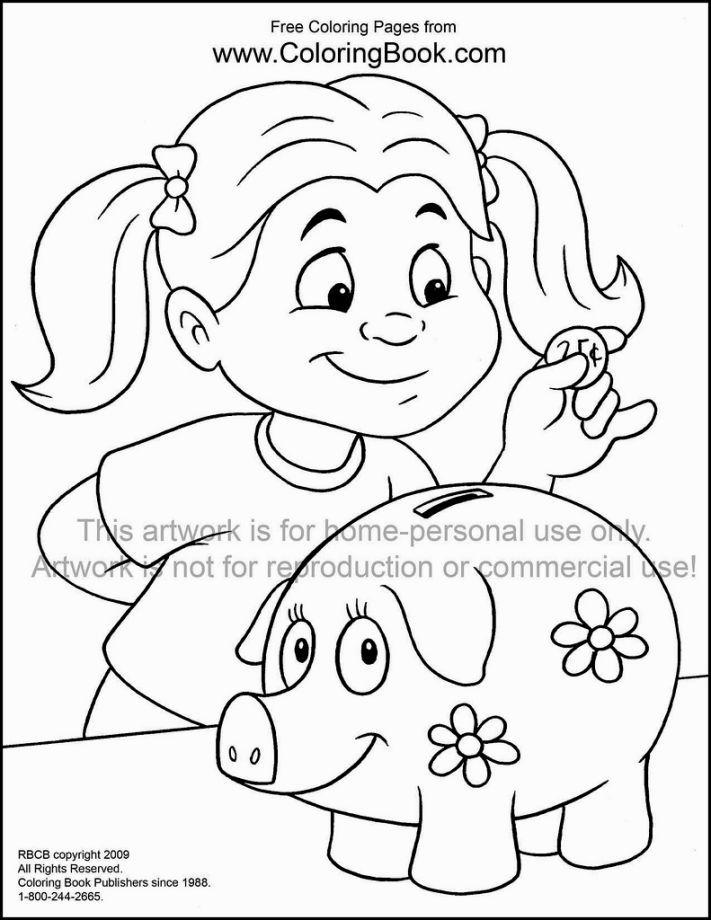 Online Printable Coloring Sheet Of Piggy Bank