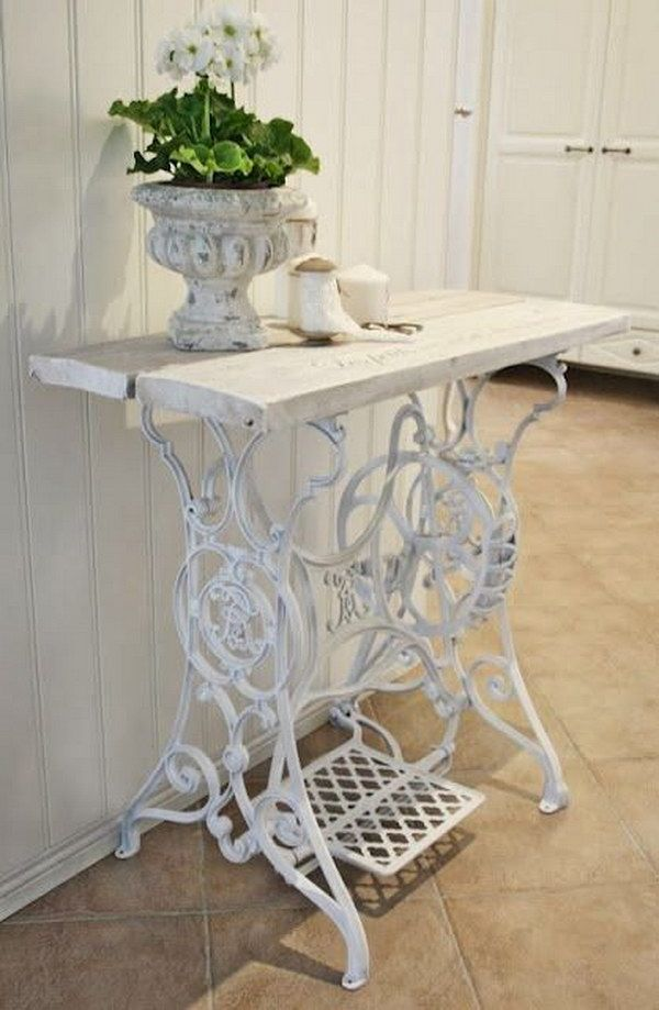 Photo of Recycled Old Sewing Machine Table.