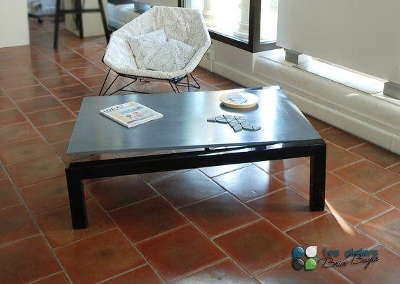 Table basse industrielle béton & Acier par Ateliersbricebayer