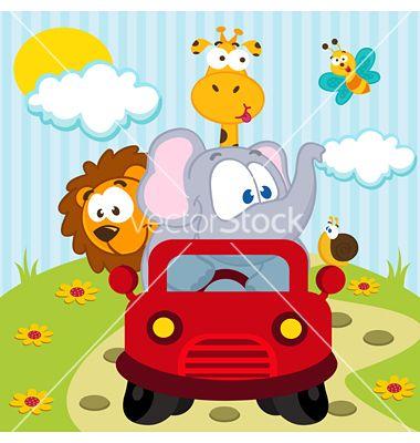 Animals By Car Vector Image On Vectorstock Drawing For Kids Kindergarten Art Vector Illustration