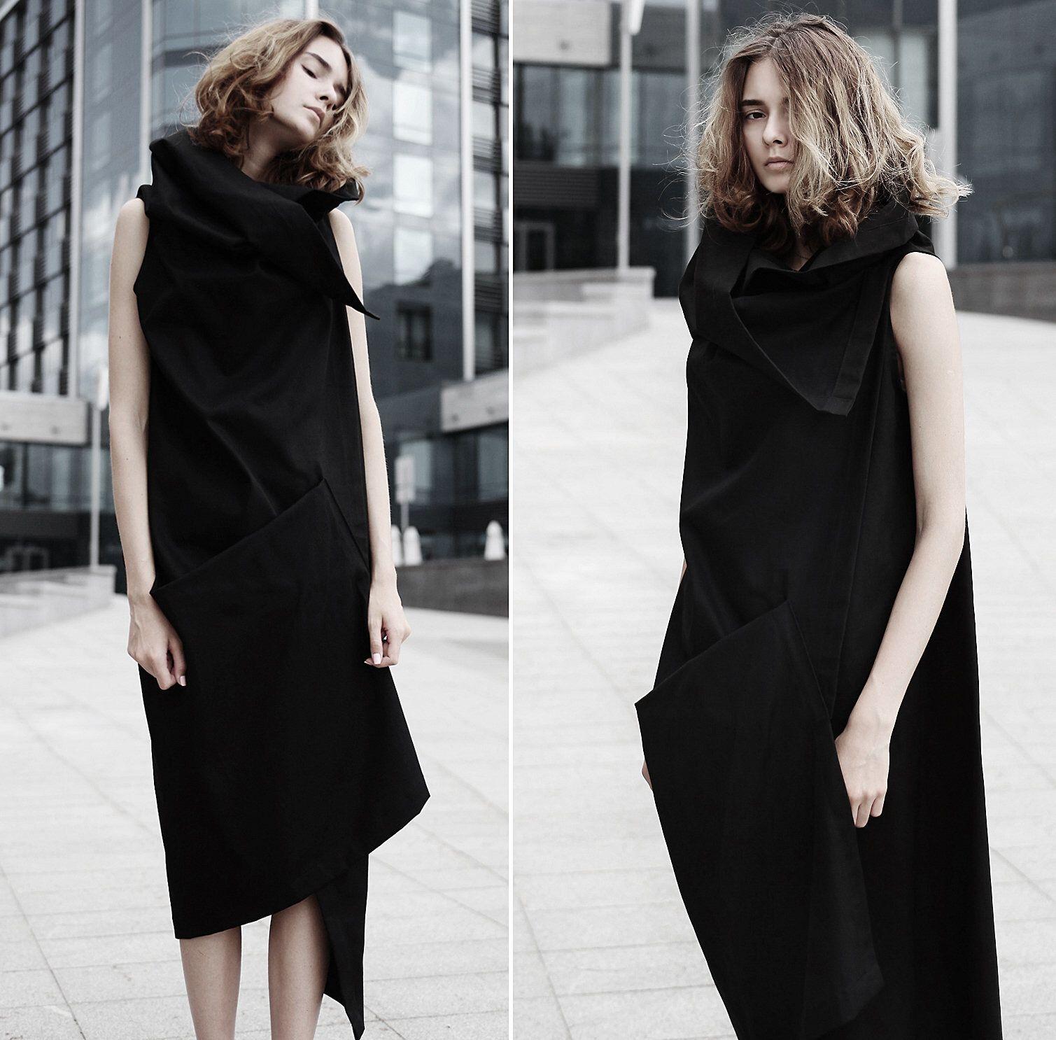 c1abc33f65de6a Asymmetrical black vest  avant-garde dress  deconstructed jacket  black  vest  deconstructed
