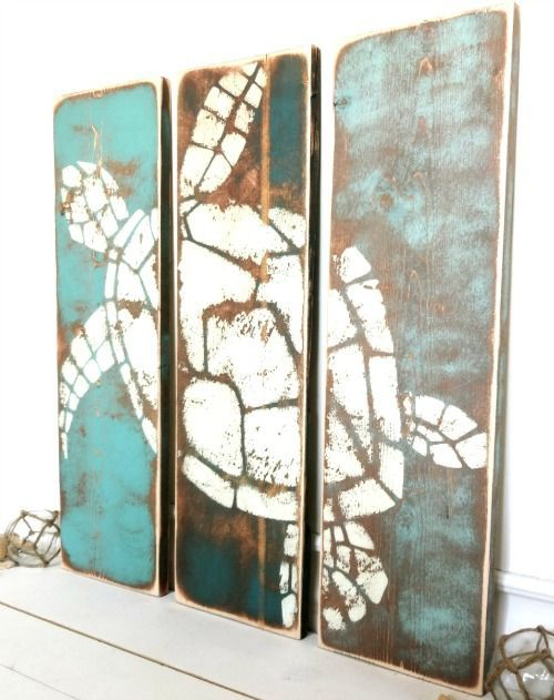 Coastal Ocean and Beach Paintings on Wood for a Rustic Unique