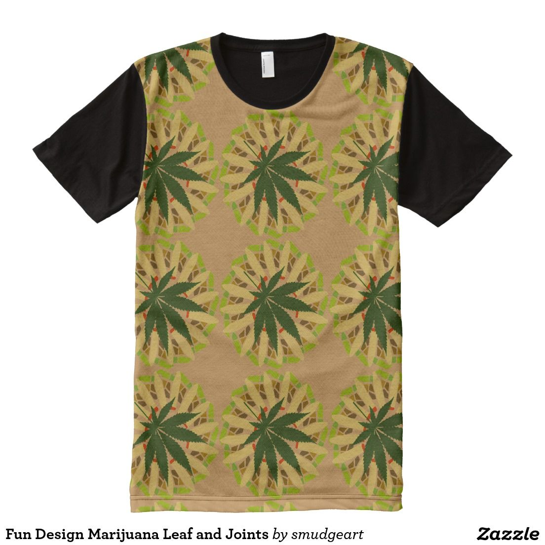 Zazzle t shirt design template - Fun Design Marijuana Leaf And Joints All Over Print T Shirt