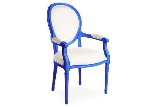 Melrose Outdoor Armchair, White/Cobalt