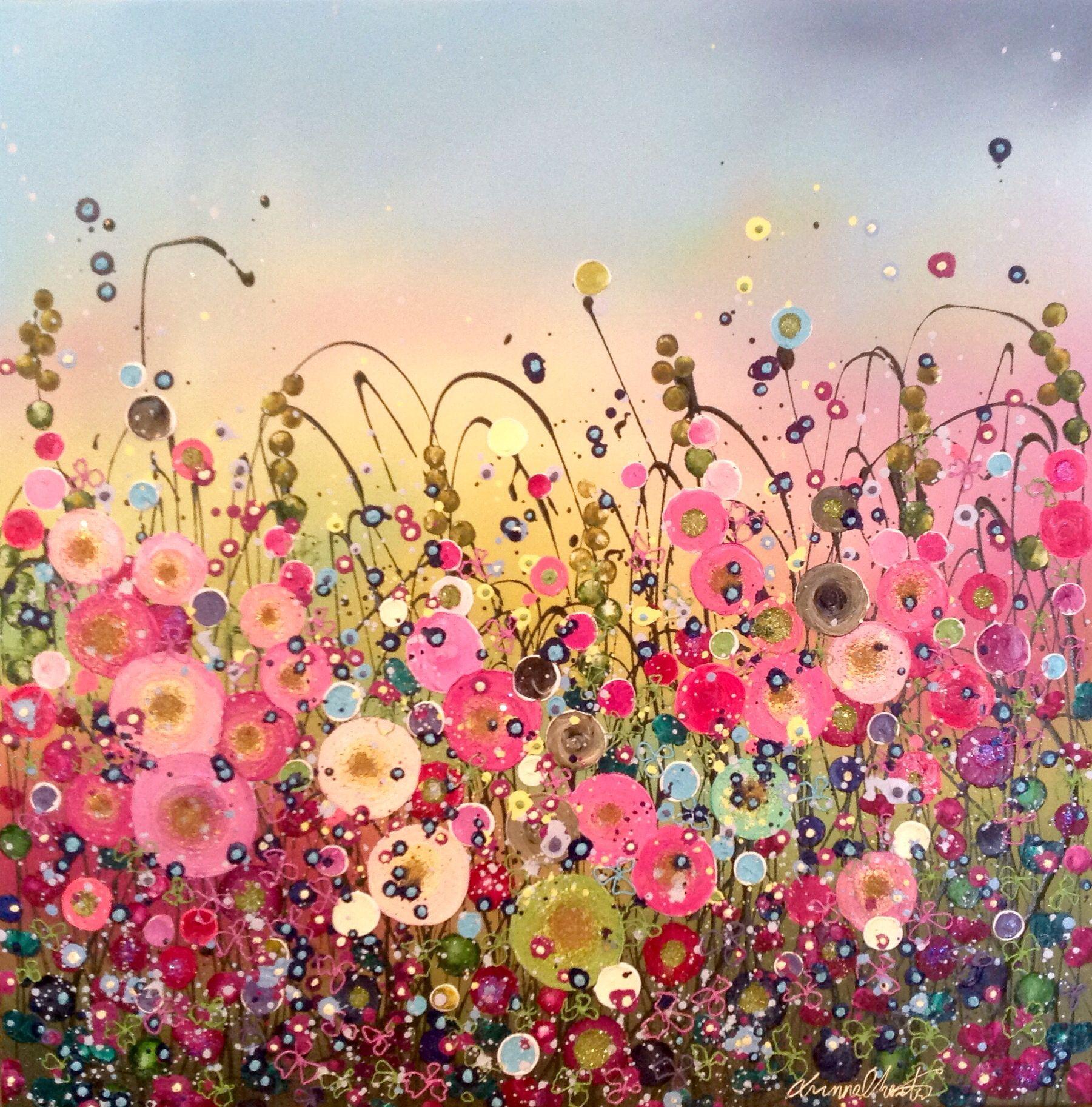 Leanne Christie Original Oil Embellished Artwork #Flowers #Colour #Home #