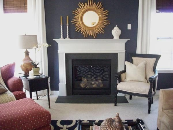 Dark Blue Gray Living Room navy accent wall in my family room. pottery barn navy blue chain