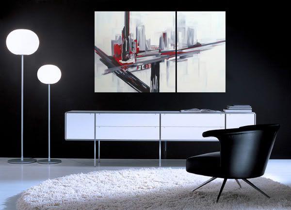 Cuadros modernos al oleo diptico en blanco negro y rojo - Cuadro blanco y negro ...