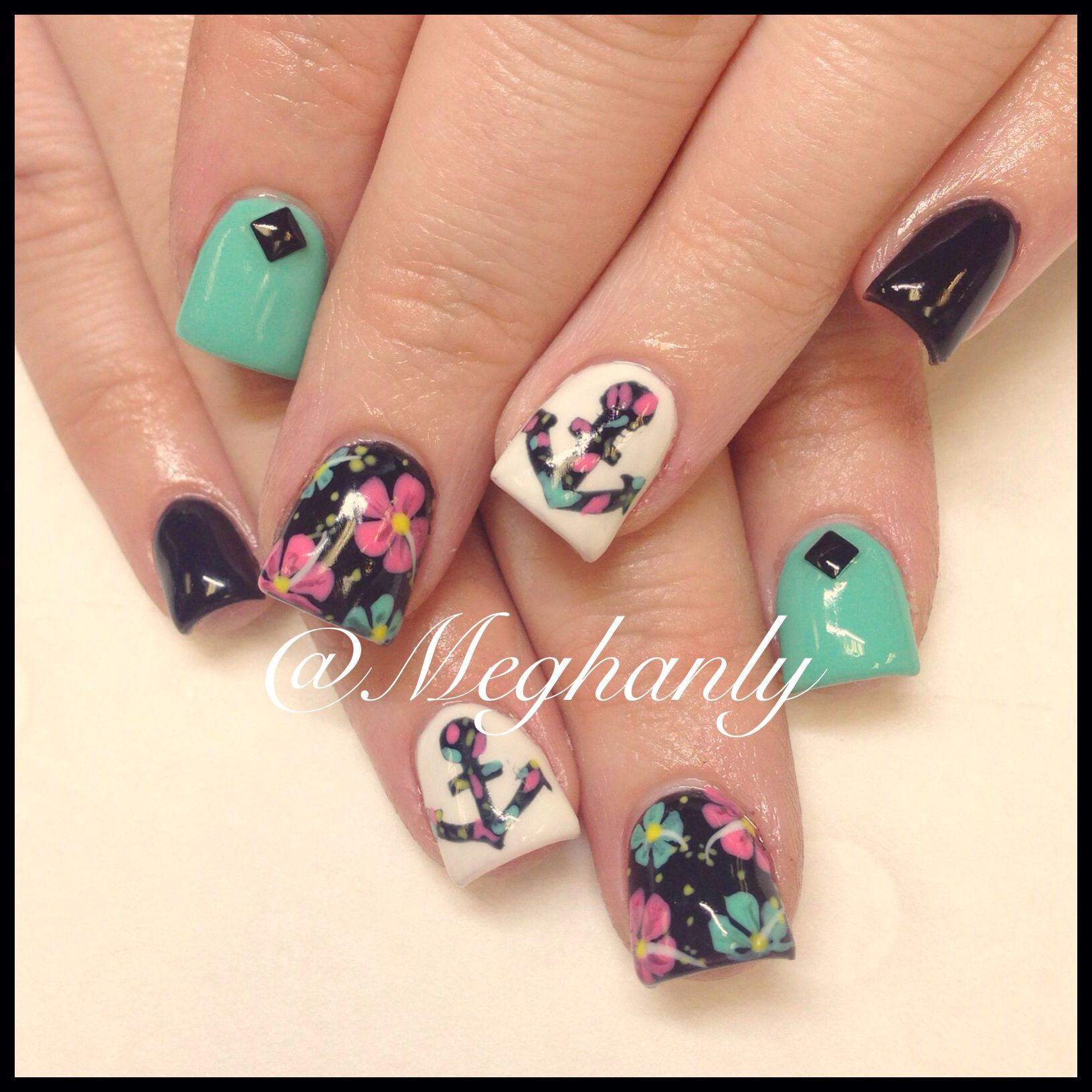 Anchor nails nail art summer nails flower print nails anchor nails nail art summer nails flower print prinsesfo Image collections
