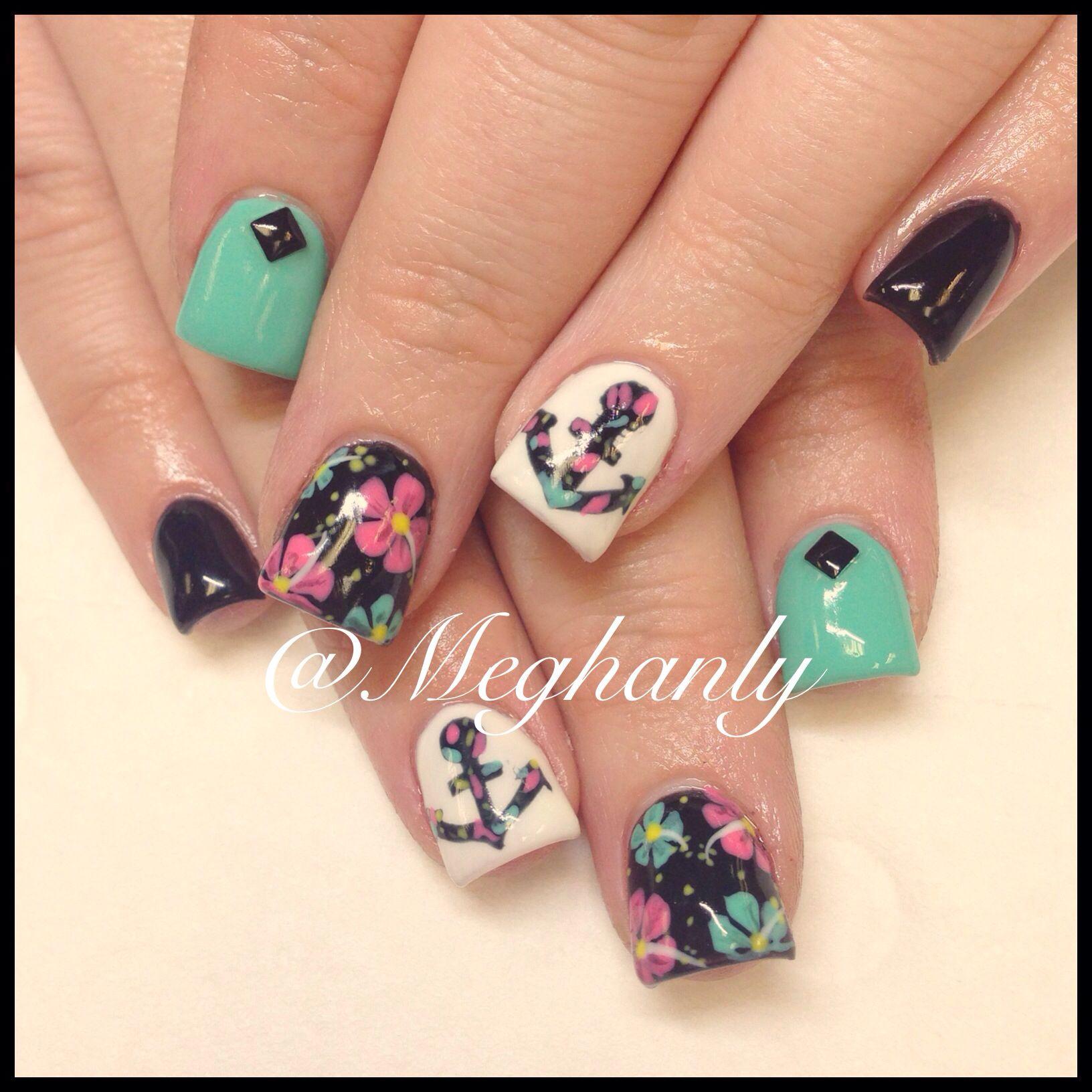 Anchor nails. Nail art. Summer nails. Flower print. | Nails ...