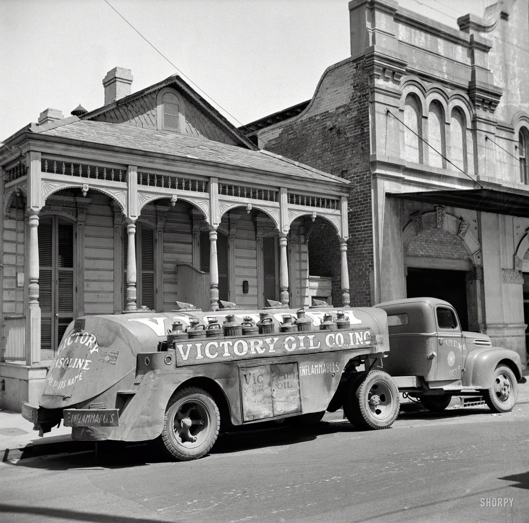 """""""New Orleans oil truck."""" Note the wings atop the tank. Medium format negative by John Vachon, Office of War Information."""