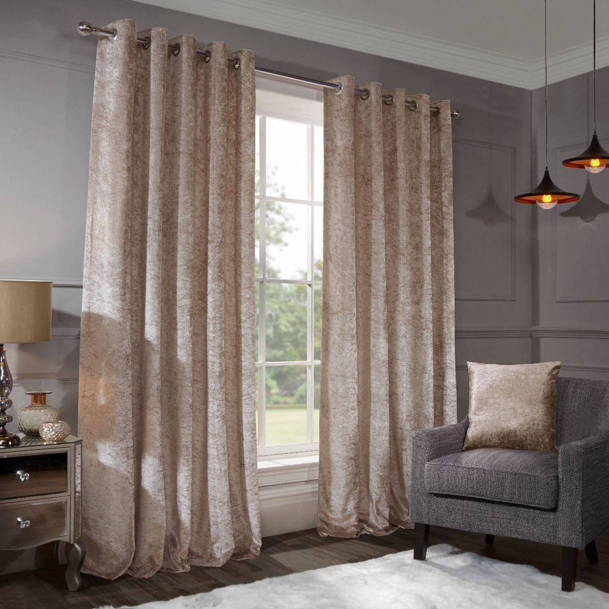 Allure Natural Crushed Velvet Eyelet Curtains
