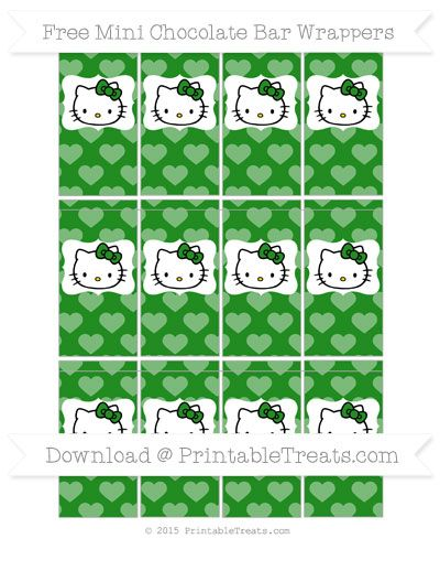 Free Forest Green Heart Pattern Hello Kitty Mini Chocolate Bar Wrappers
