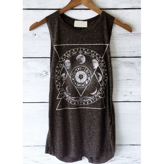 Vintage Women'S Tank Tops Summer Print Vest Casual Loose Top Sleeveless Tank Sport Pullover Tunic Top Color black Size S 3