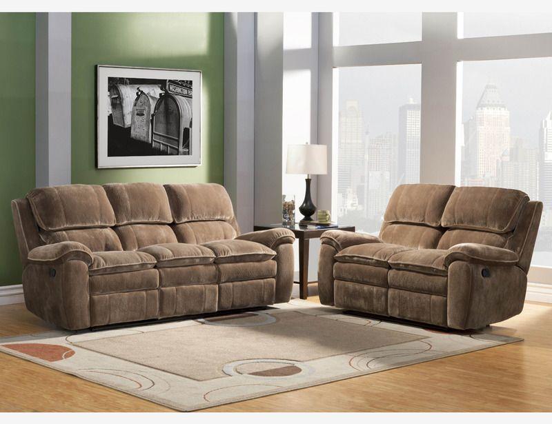 brown microfiber dual reclining sofa loveseat tufted
