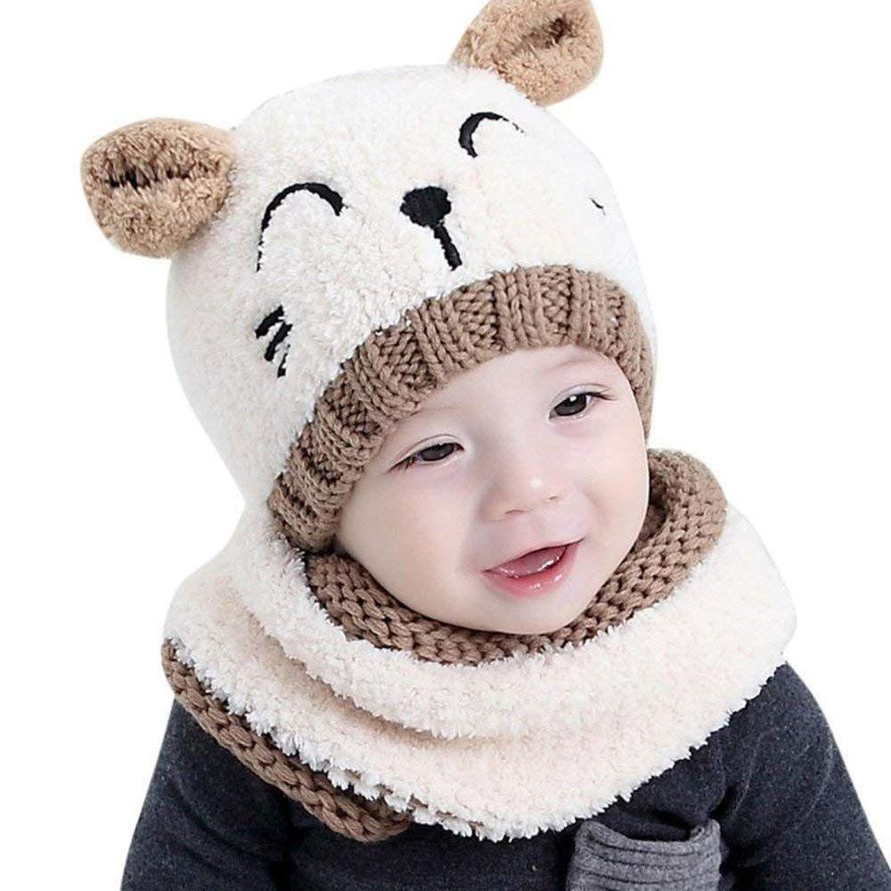 de13b603c ZEYI Baby Girls Boys Warm Soft Knit Bear Hat Toddler Winter Crochet ...