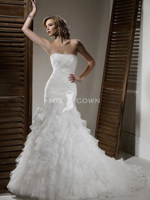 Fox Gown Organza Fishtail Wedding Mermaid Gowns Bridal