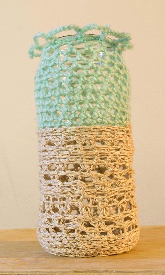 Crochet Jar/Crochet Vase/Recycled Glass/Glass Jar Vase