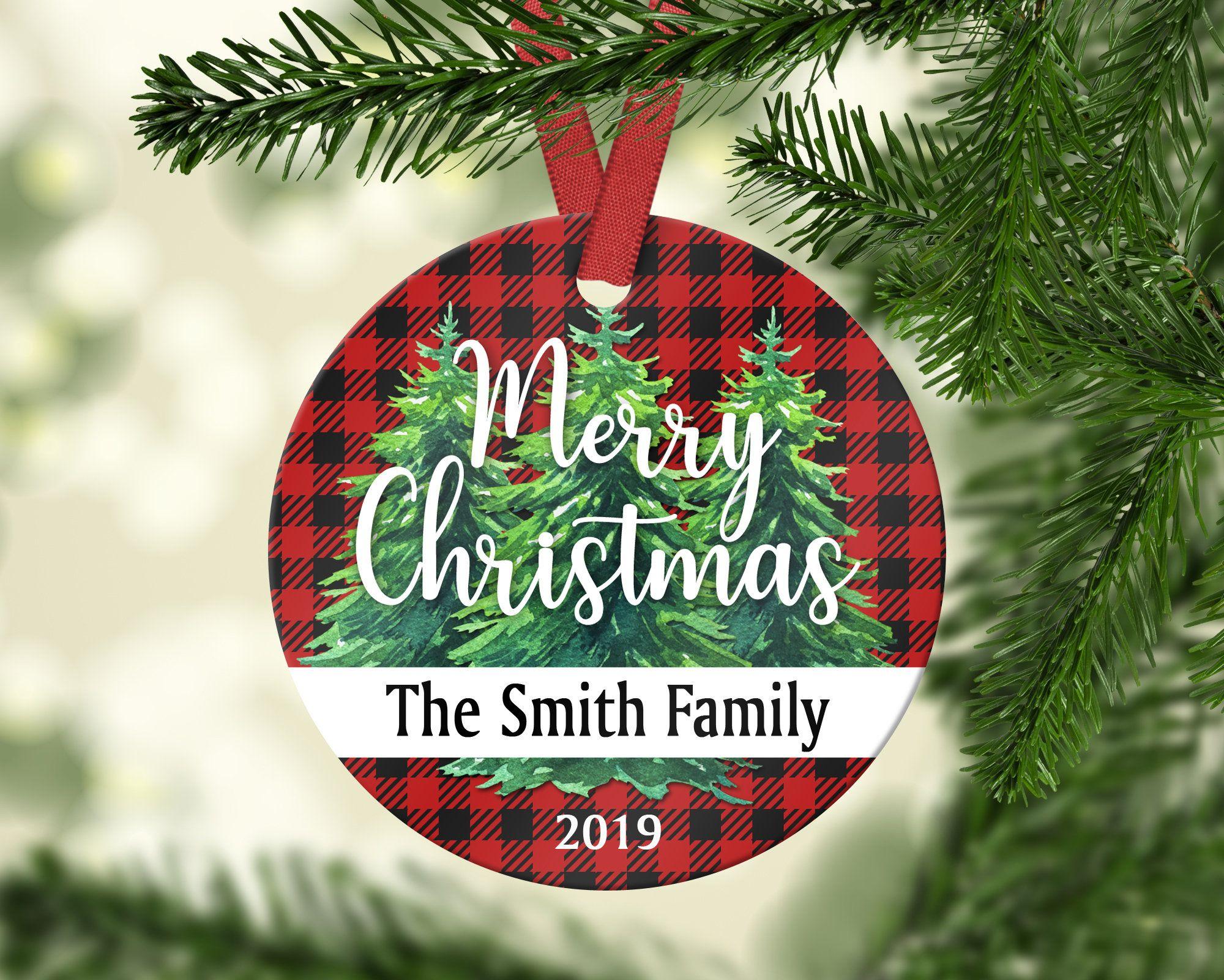 Personalized Family Christmas Ornament Buffalo Plaid Etsy Personalized Christmas Ornaments Family Personalized Family Ornaments Family Christmas Ornaments