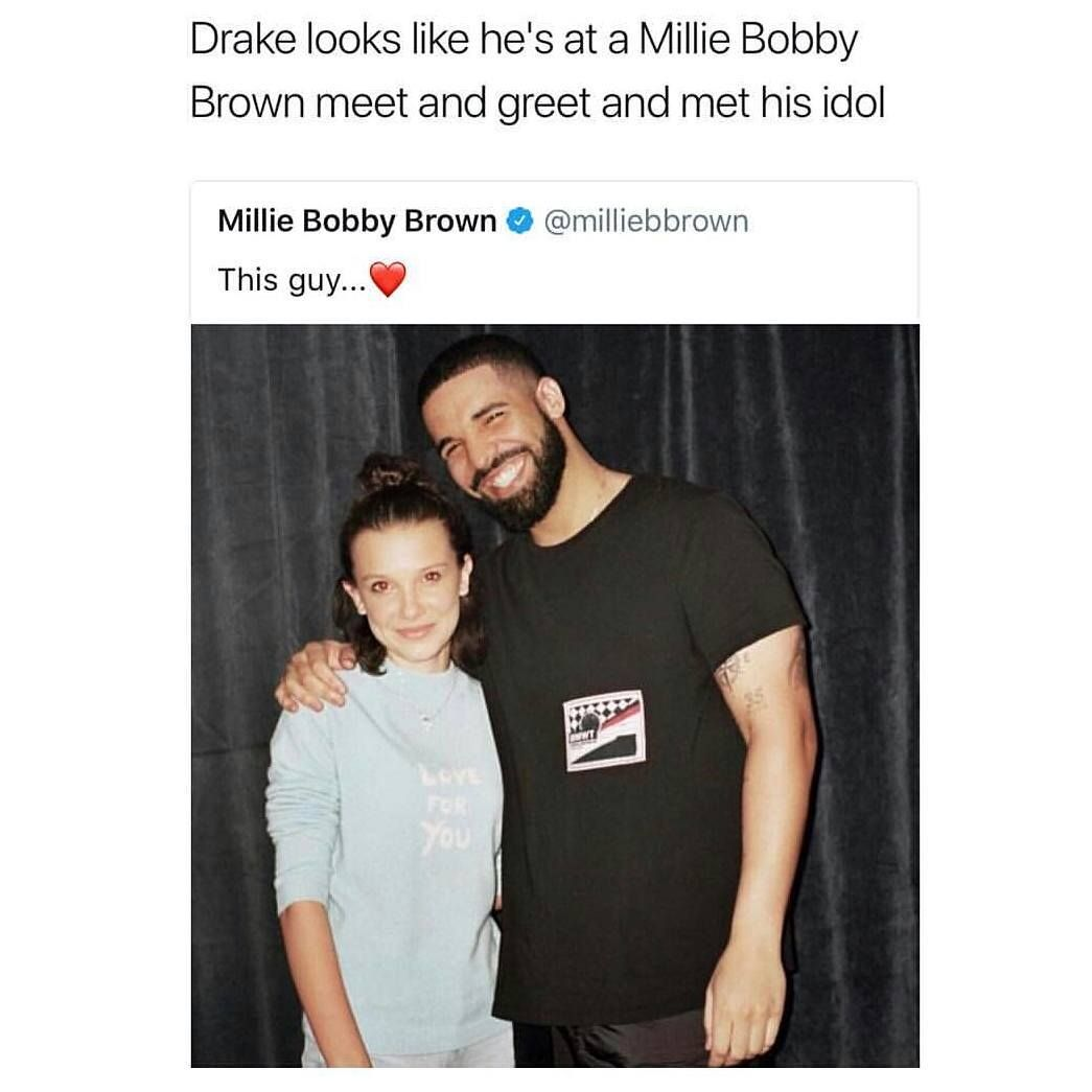 Drake looks like hes at a millie bobby brown meet and greet and drake looks like hes at a millie bobby brown meet and greet and met his idol kristyandbryce Images