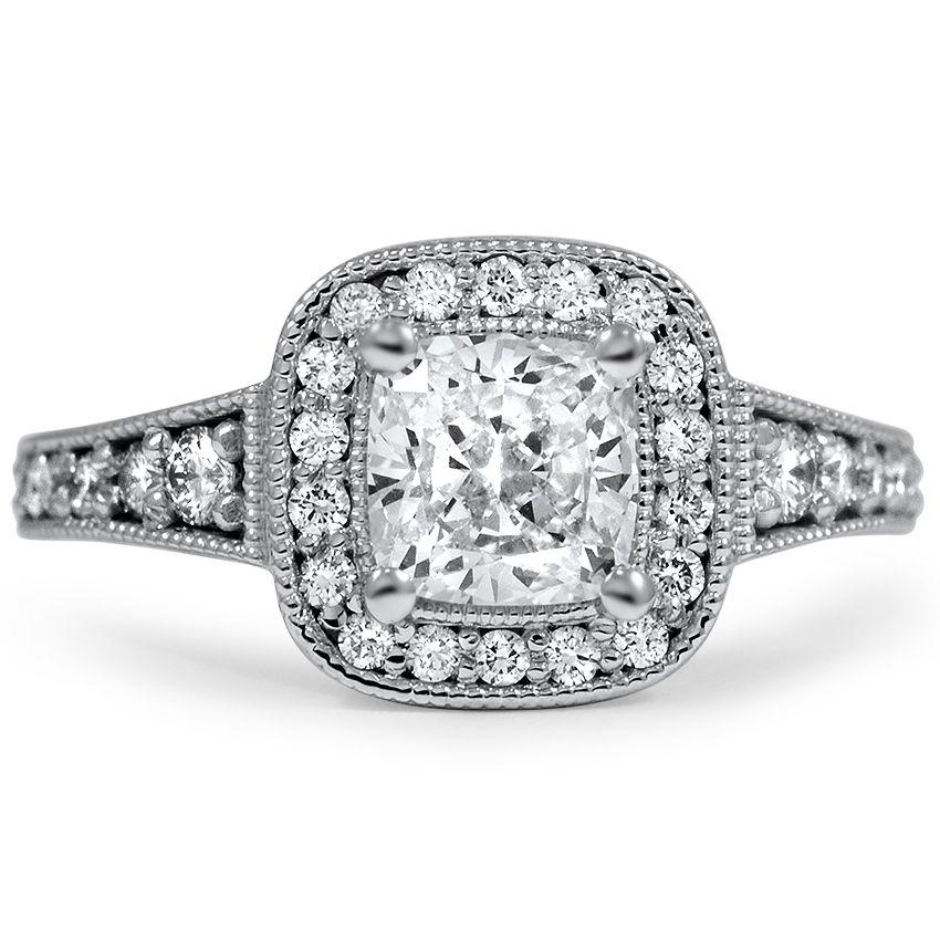 Custom Ring, Milgrain Halo with Side Stones