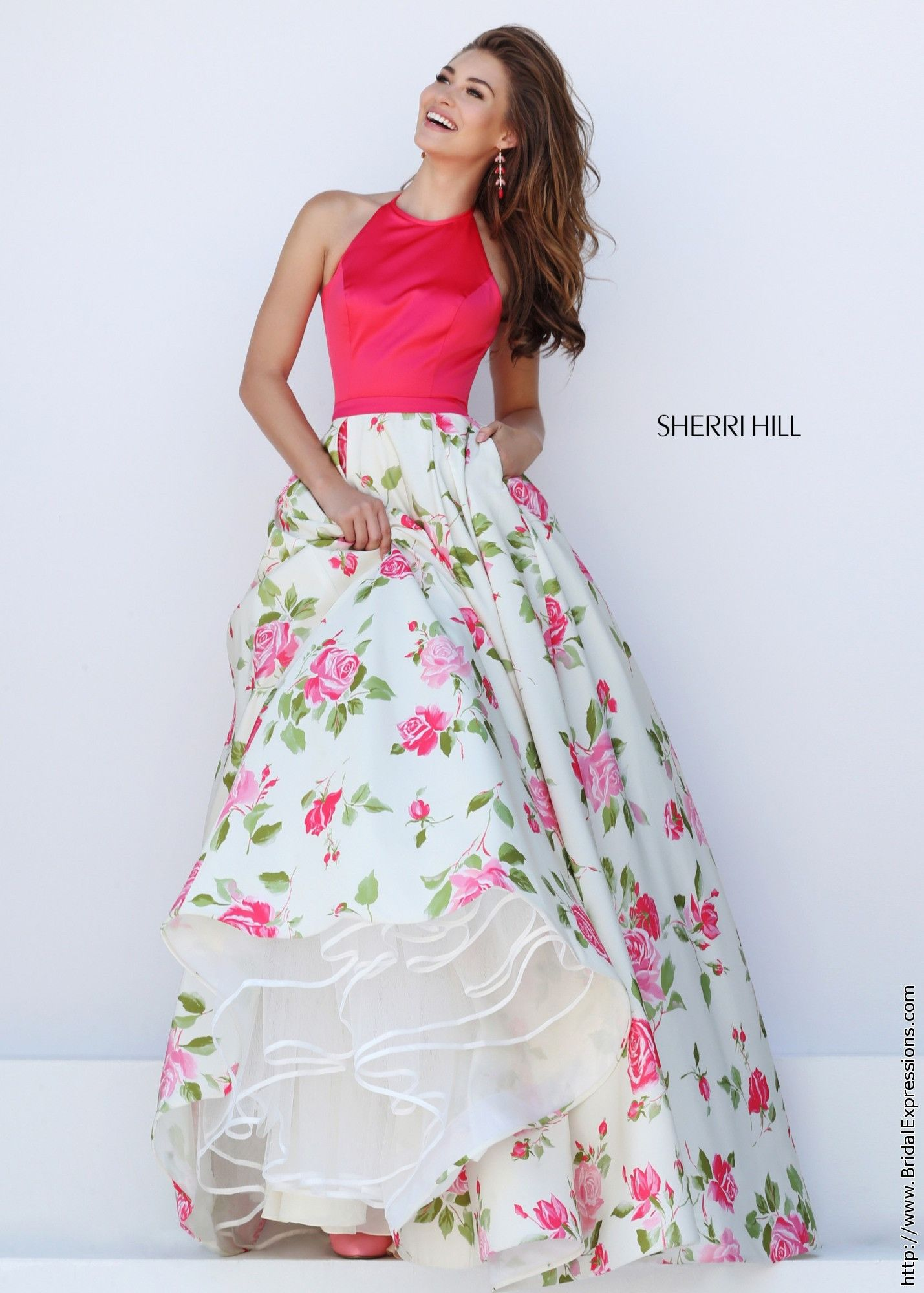 Sherri Hill 50231 Coral and Ivory Floral Print Halter Prom Dress ...