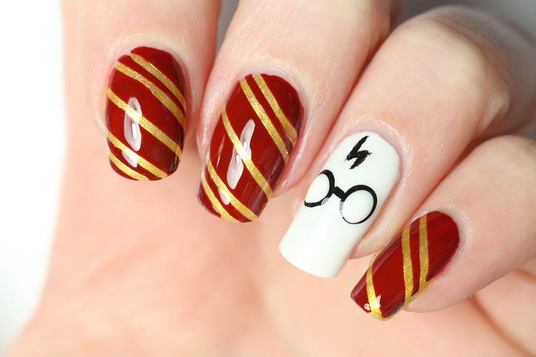 Un nail-art Harry Potter ⚡ | Nails | Pinterest | Feder nägel ...