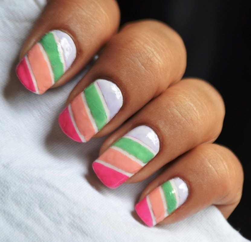 Cute Easy Nail Designs Using Tape: Color Blocking Nail Polish Designs For Beginners To Do At