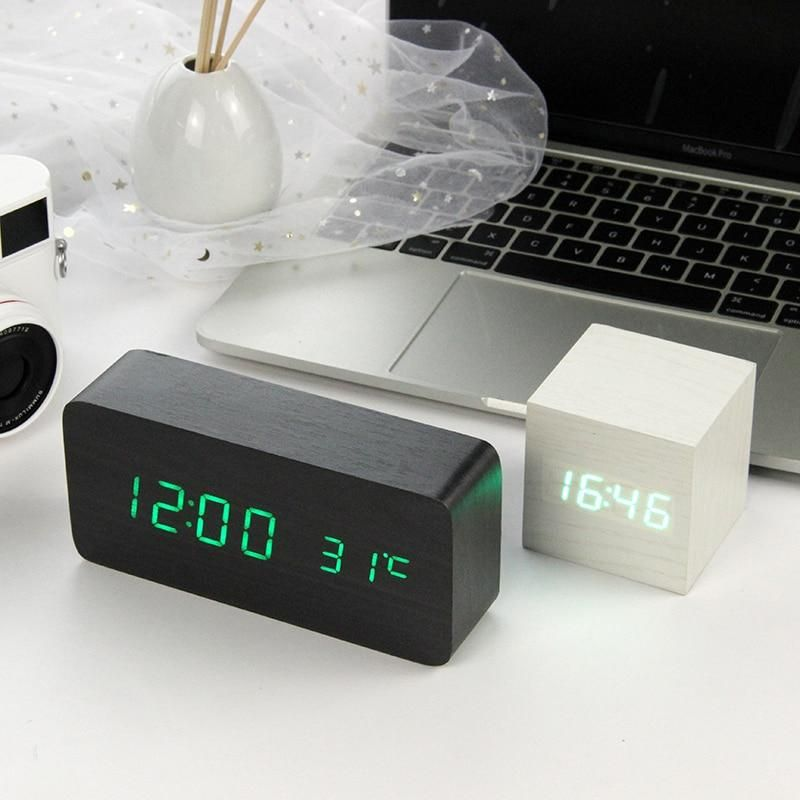 Led Wooden Alarm Clock Watch Table Voice Control Digital Wood