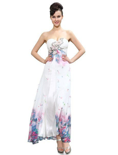 HE09935WH14, White, 12US, Ever Pretty Strapless Lacey Applique Slitted Floral Printed Long Party Dress 09935