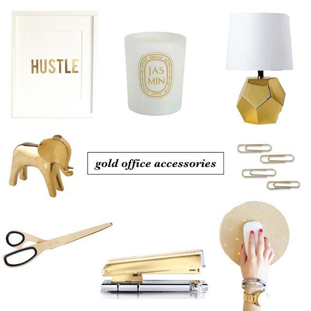 pretty gold office accessories