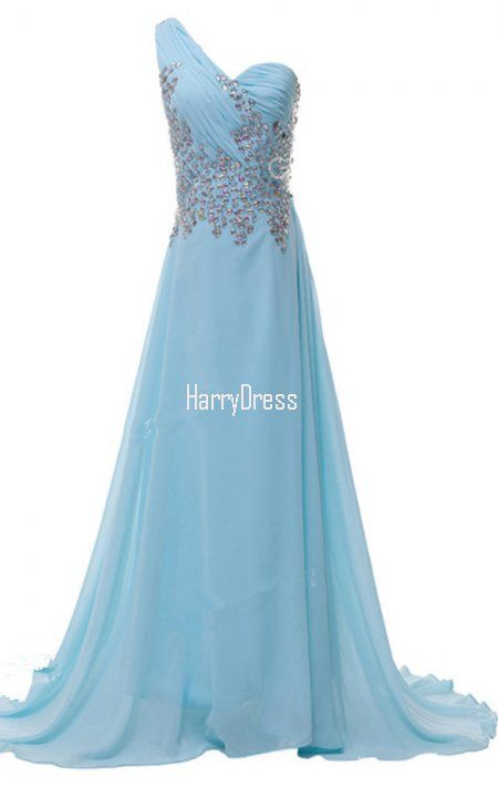 Beading Light Blue Crystal Sequined Pleated Floor Length Chiffon One  Shoulder Sleeveless Long Prom Dress