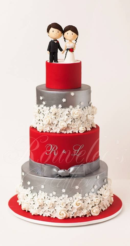 Red And Silver Cake