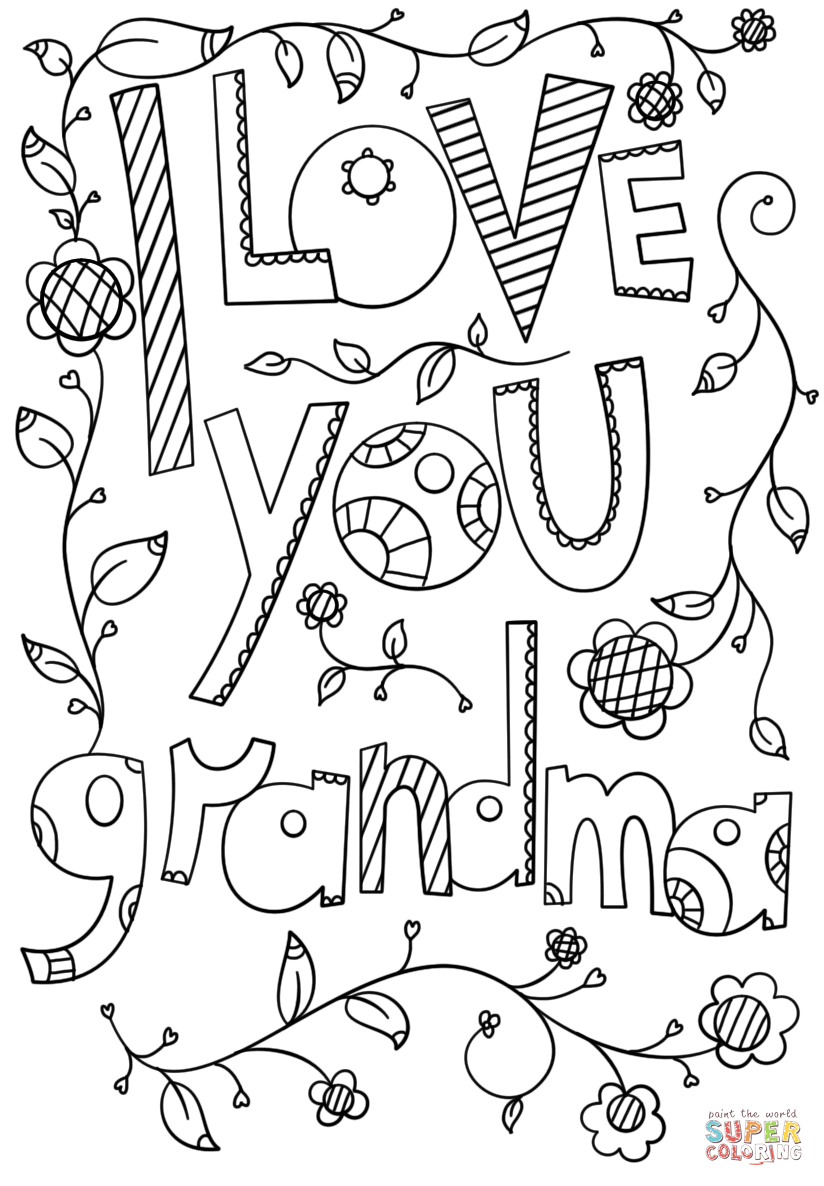 I Love You Grandma Doodle Coloring Page From Grandparent S Day Category Select From 27 Heart Coloring Pages Mothers Day Coloring Pages Birthday Coloring Pages
