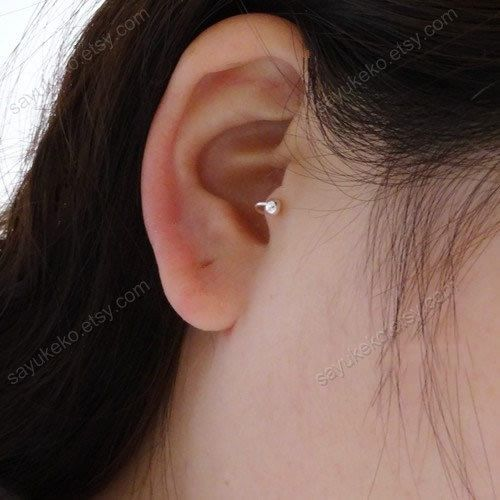 silver tiny circle tragus earring tragus jewelry, basic style tragus earrings, d3 on Etsy, $4.99