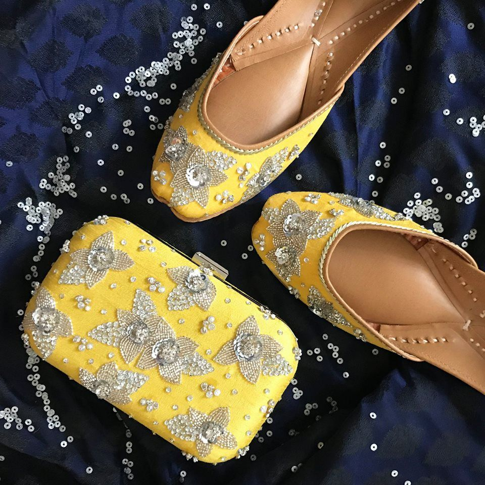 It's the season for some 'CANDICE HONEY'  Super excited to launch this understated yet beautiful yellow jutti and clutch, embroidered with a bit of silver sparkle for the glam! Perfect for the day and night, check it out now on www houseofvian com                   houseofvian wedding festive aw2018 festivedition colors classic juttis footwear winterweddings indianwedding photooftheday instagood is part of Jutti -