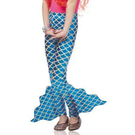 Mermaid Pants Blue Fin Mythical Creature Girls Child Costume Leggings