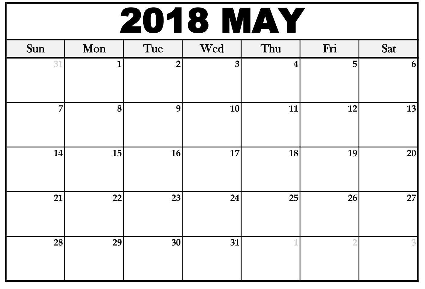 Free 5 May 2018 Calendar Printable Template Pdf August Calendar