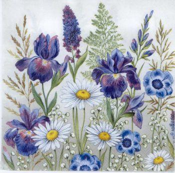 Decoupage Paper Napkins | Irises & Daisies | Decoupage Paper