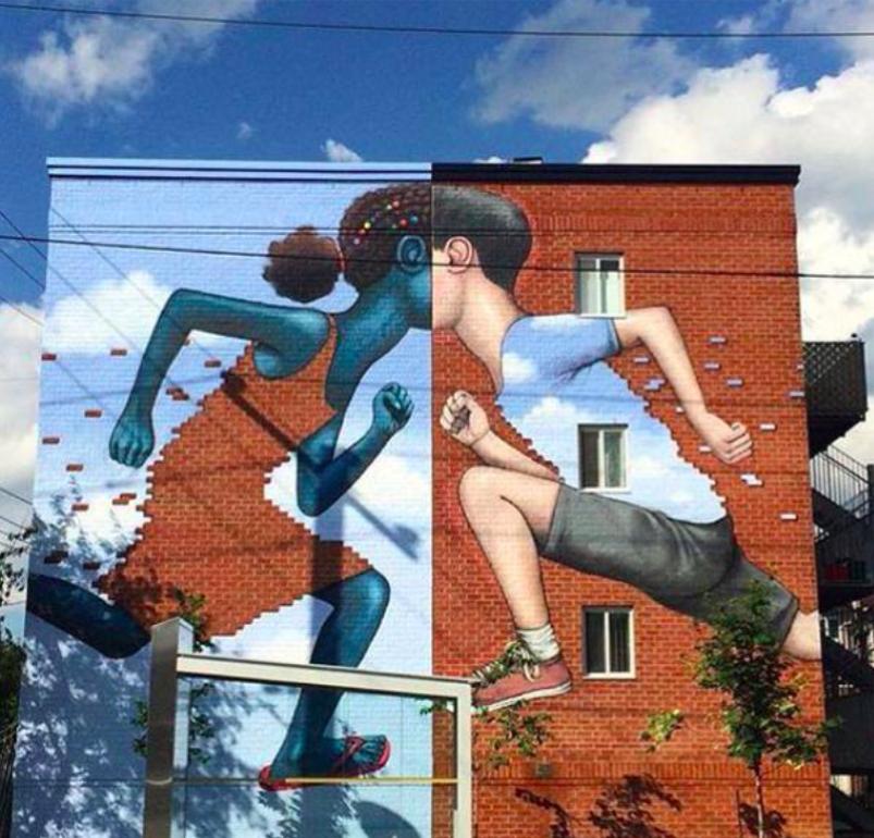 "by Seth GlobePainter - ""Brick Kids"" - Montreal, Canada"