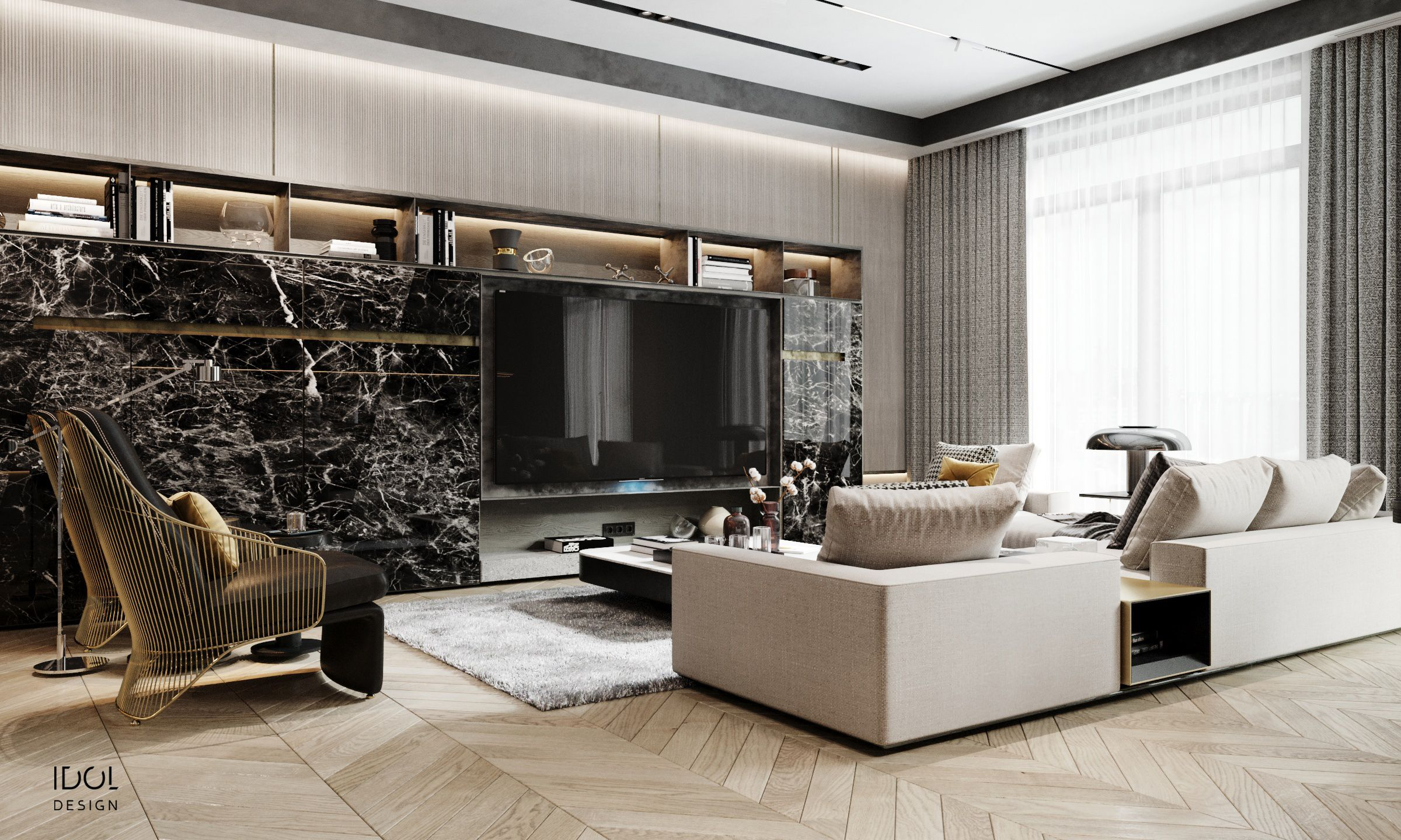 Modern Luxury Living Room With Tv Wall The Chairs And The Minotti Sofa Fit Perfectly Krestovskiy De Luxe Luxury Design Luxurious Bedrooms Design Suites