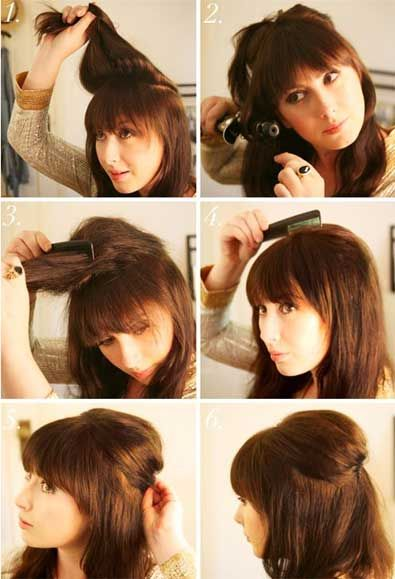 Half Down Backcombed Hairstyle For Middle Hair If You Are In A